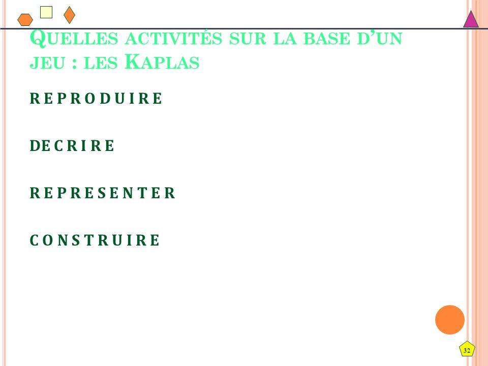 Quelles activités sur la base d'un jeu : les Kaplas