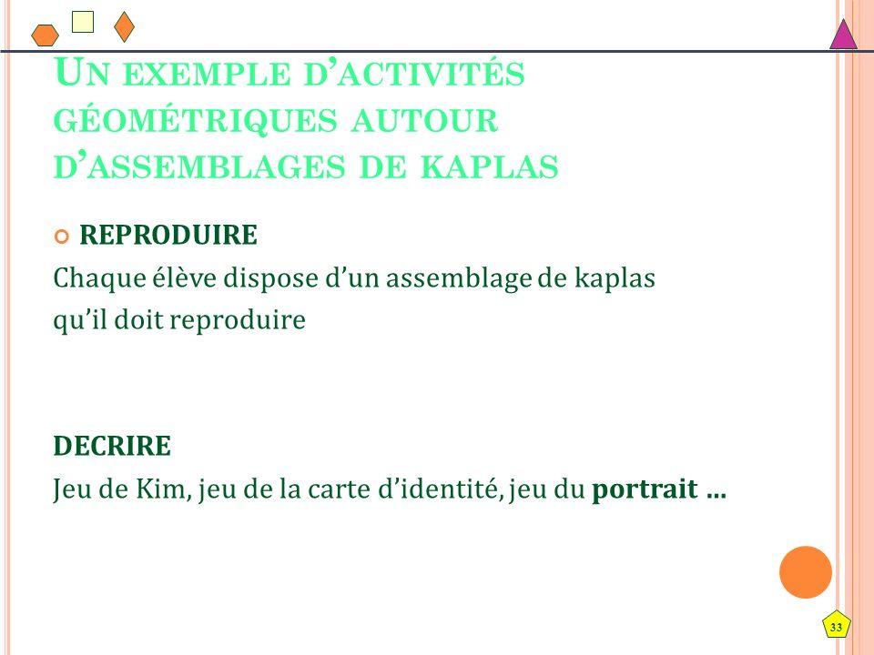 Un exemple d'activités géométriques autour d'assemblages de kaplas