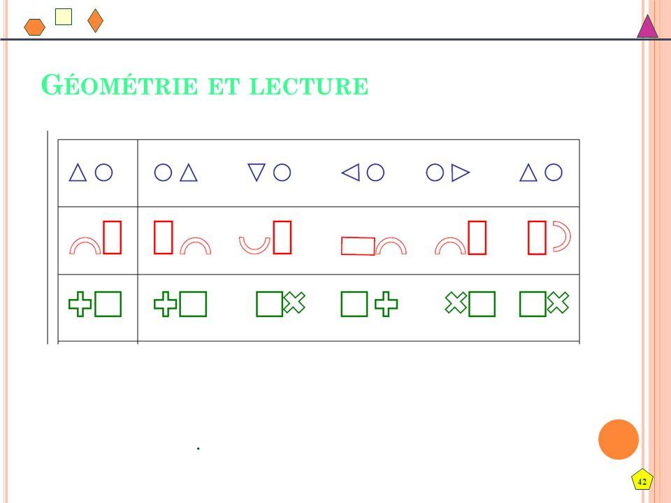 Géométrie et lecture Cet exercice n'est pas classé comme exercice de géométrie mais comme exercice de discrimination visuelle.
