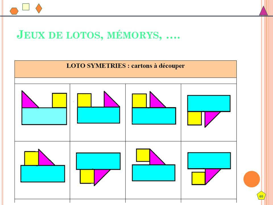 Jeux de lotos, mémorys, …. Jeux