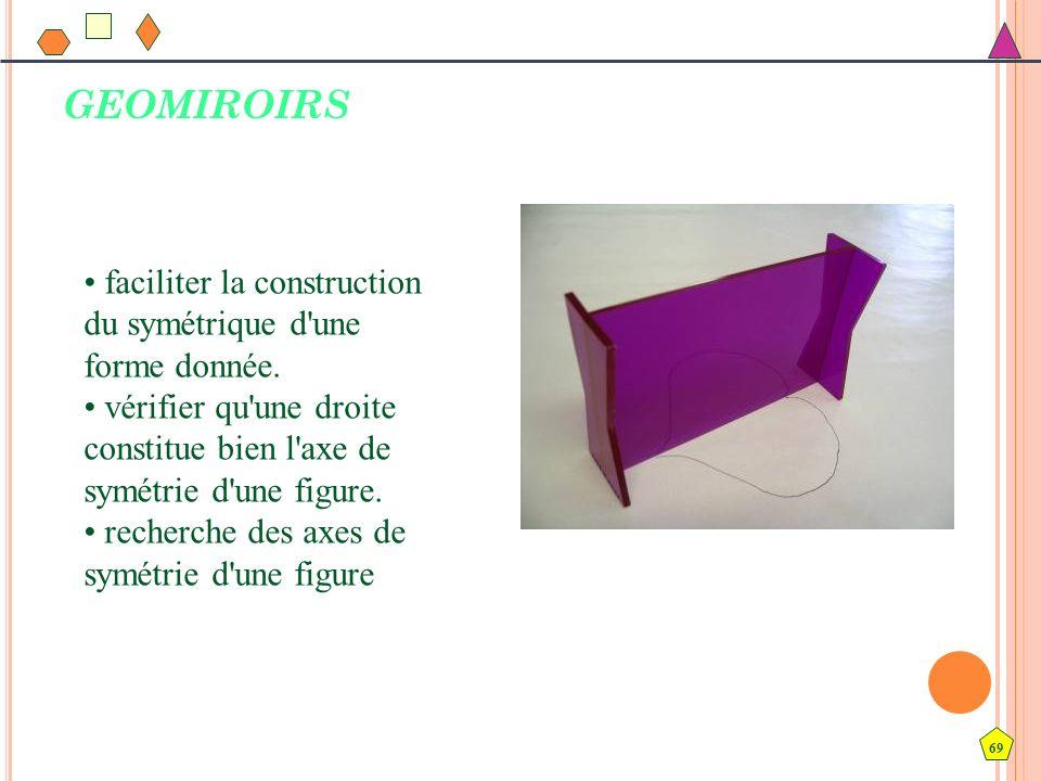 GEOMIROIRS • faciliter la construction du symétrique d une forme donnée. • vérifier qu une droite constitue bien l axe de symétrie d une figure.
