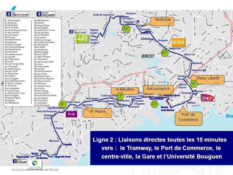 Bellevue 52' 47' Place Liberté 37' Recouvrance 4 Moulins 17' 8' 27'