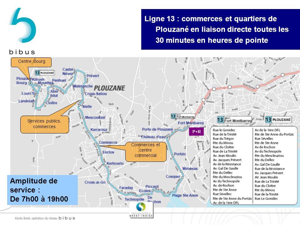 30/03/2017 Ligne 13 : commerces et quartiers de Plouzané en liaison directe toutes les 30 minutes en heures de pointe.