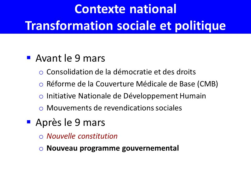Contexte national Transformation sociale et politique