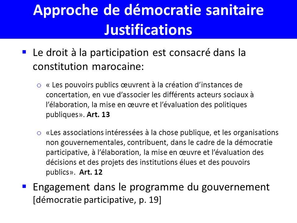 Approche de démocratie sanitaire Justifications