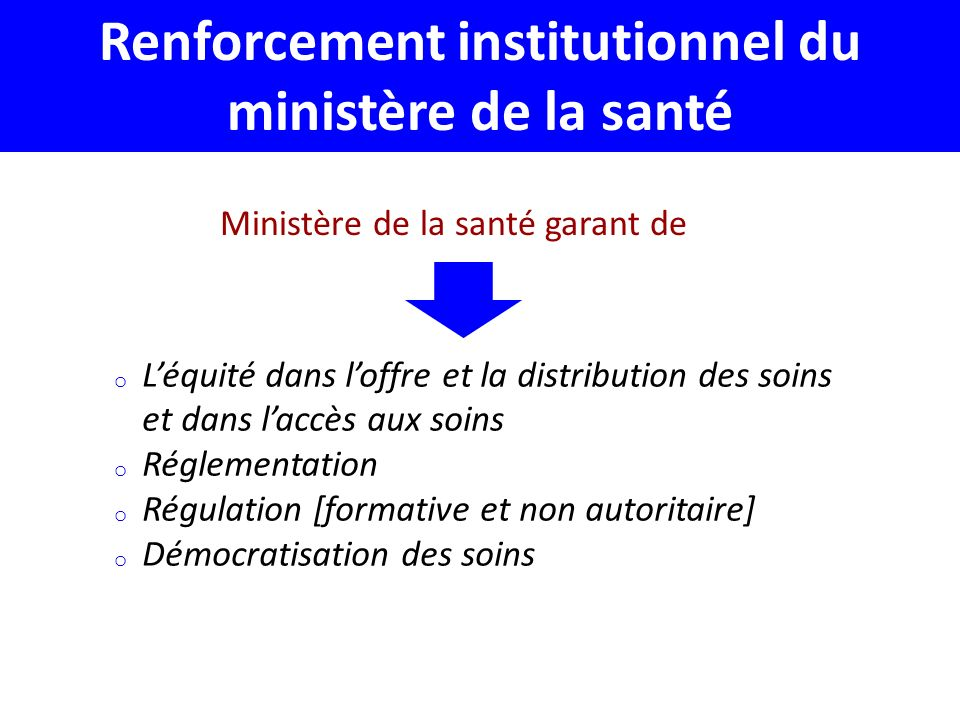 Renforcement institutionnel du ministère de la santé