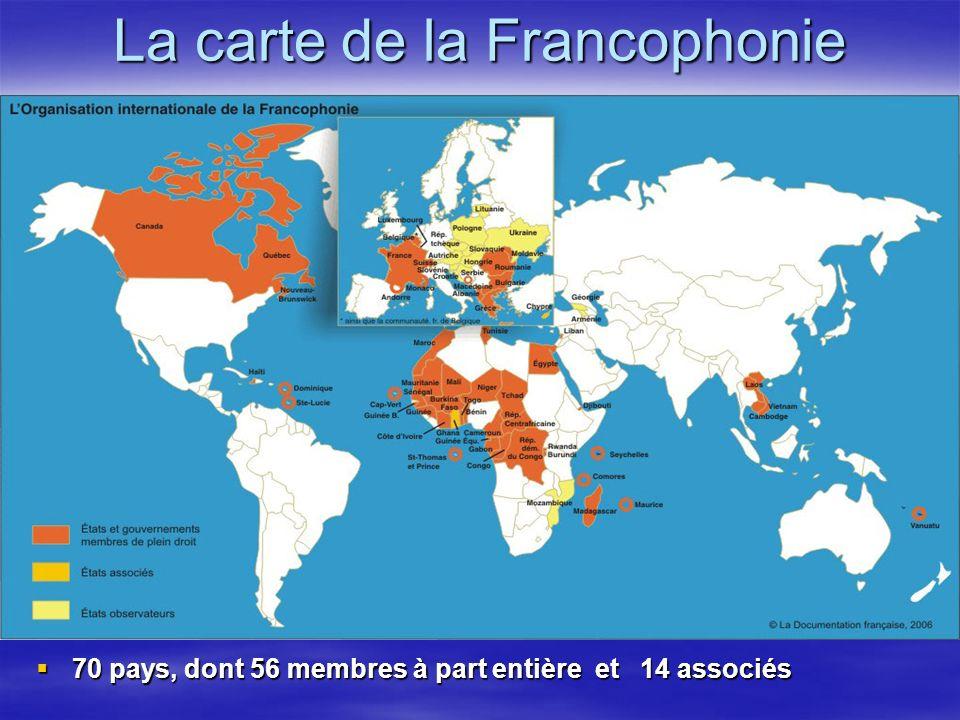 La carte de la Francophonie