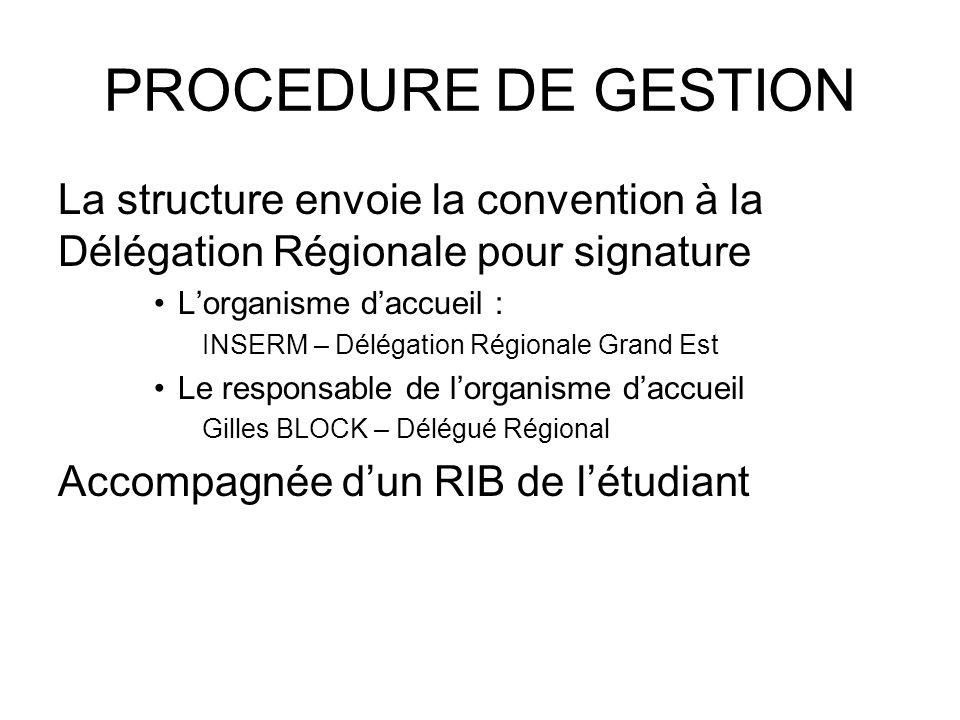 PROCEDURE DE GESTION La structure envoie la convention à la Délégation Régionale pour signature. L'organisme d'accueil :