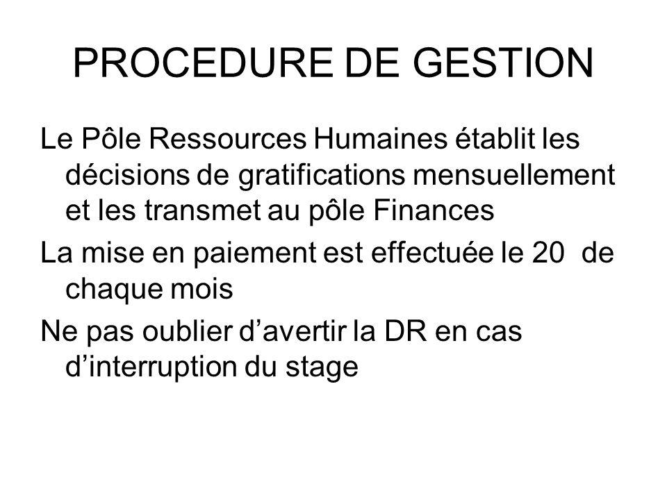 PROCEDURE DE GESTION Le Pôle Ressources Humaines établit les décisions de gratifications mensuellement et les transmet au pôle Finances.