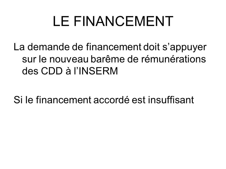 LE FINANCEMENT La demande de financement doit s'appuyer sur le nouveau barême de rémunérations des CDD à l'INSERM.