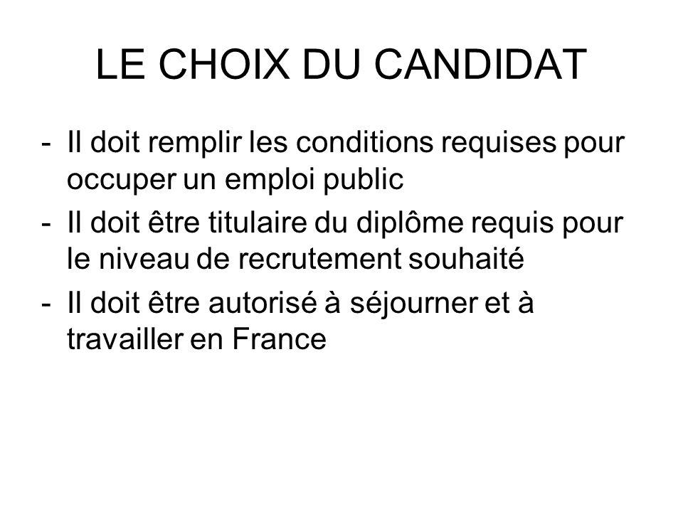 LE CHOIX DU CANDIDAT Il doit remplir les conditions requises pour occuper un emploi public.
