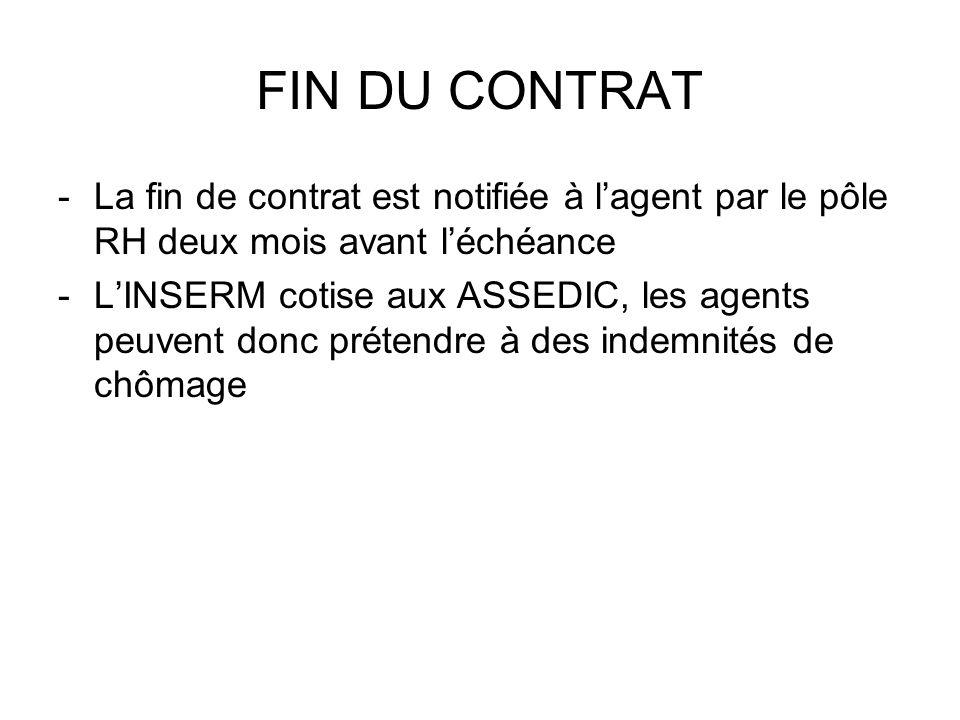 FIN DU CONTRAT La fin de contrat est notifiée à l'agent par le pôle RH deux mois avant l'échéance.