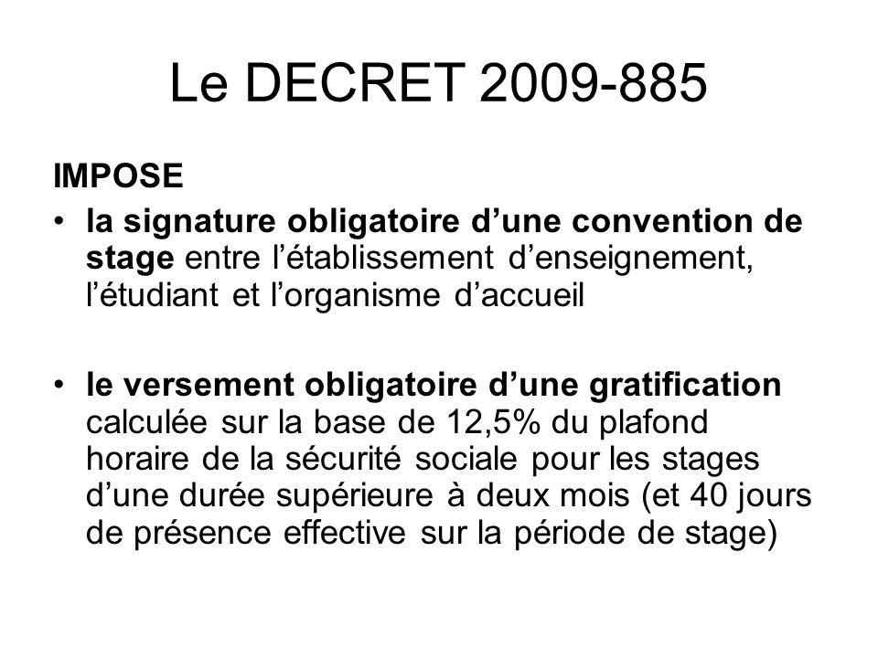 Le DECRET 2009-885 IMPOSE.