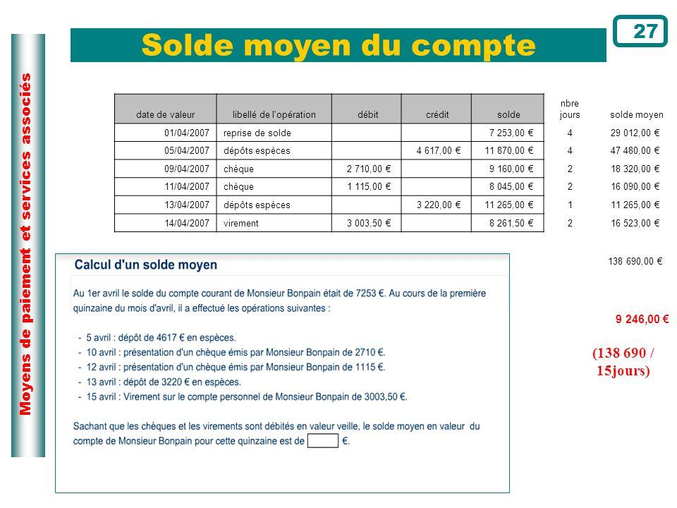 Solde moyen du compte 27 (138 690 / 15jours) Page du cours N°14