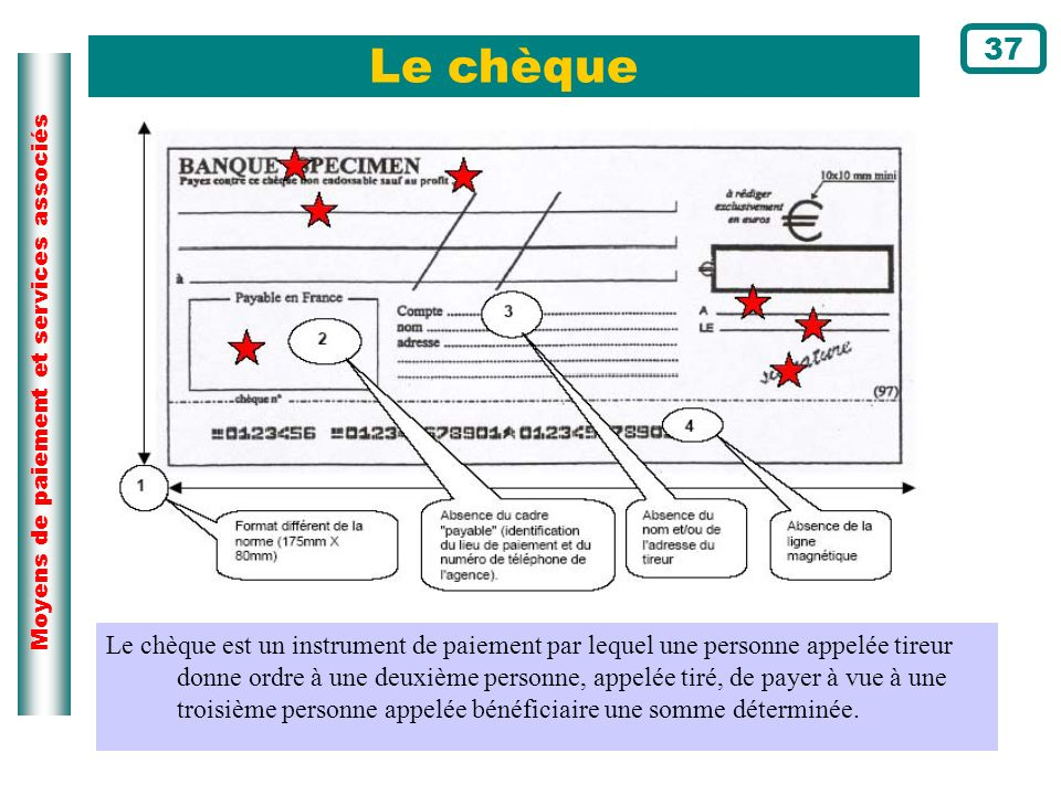 37 Le chèque. Page du cours N°71. Ce schéma illustre la définition du chèque.