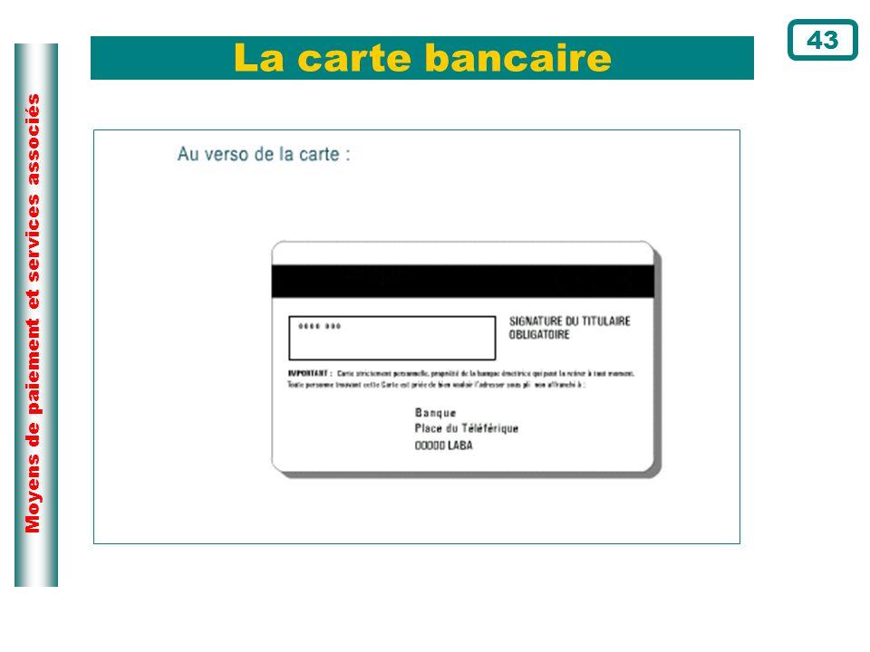 La carte bancaire 43 Page du cours N°91 Au verso, on trouve :
