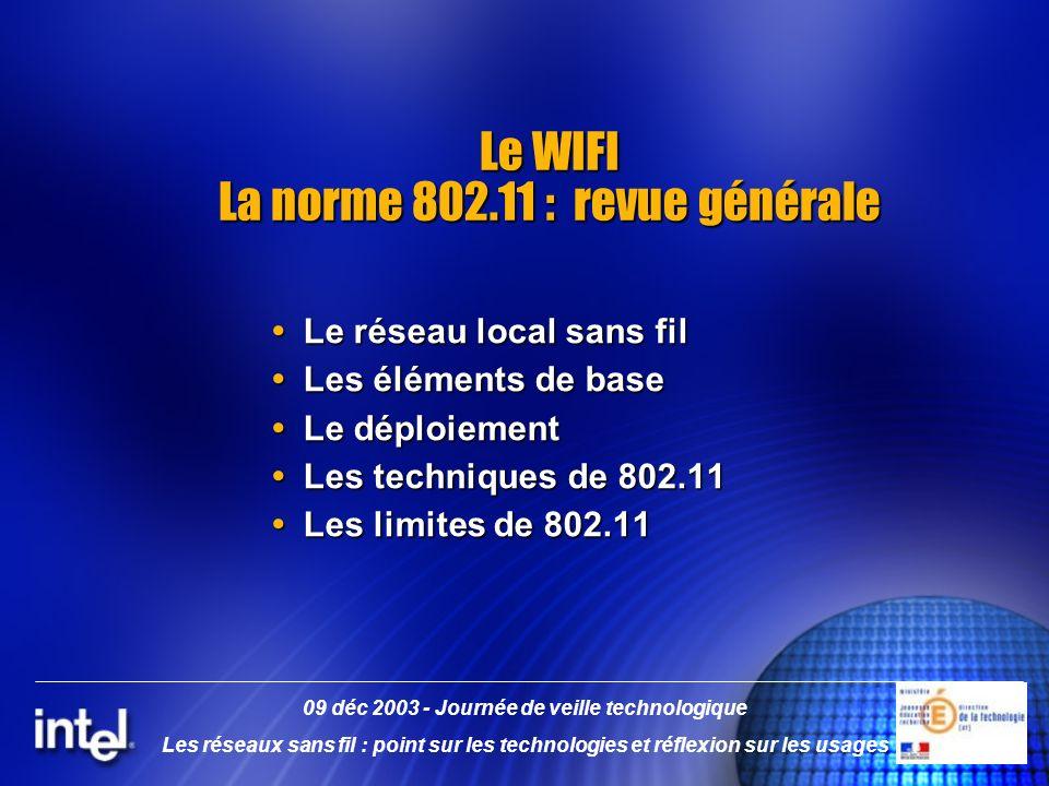 Le WIFI La norme 802.11 : revue générale