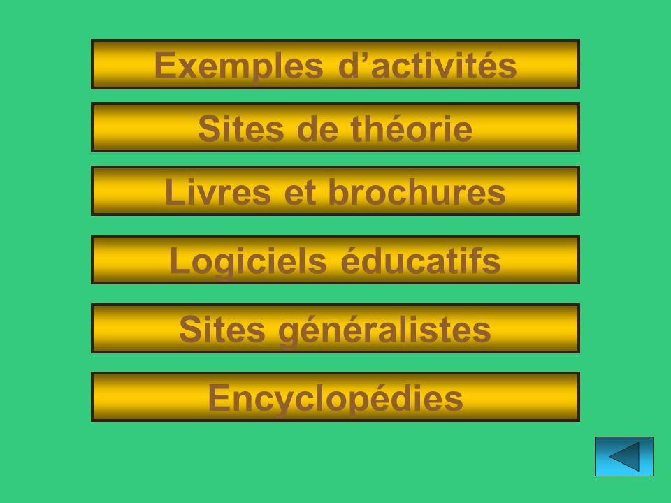 Exemples d'activités Sites de théorie. Livres et brochures. Logiciels éducatifs. Sites généralistes.