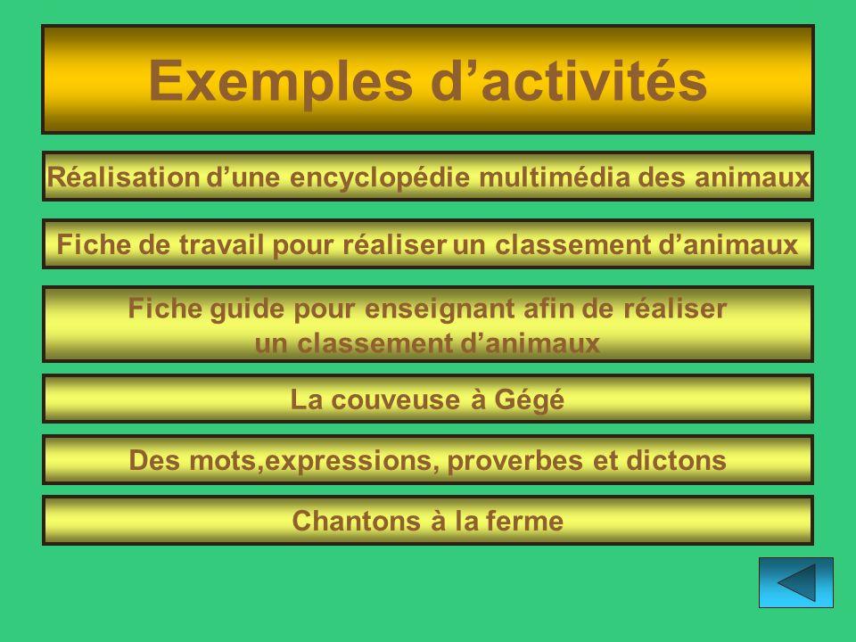 Exemples d'activités Réalisation d'une encyclopédie multimédia des animaux. Fiche de travail pour réaliser un classement d'animaux.