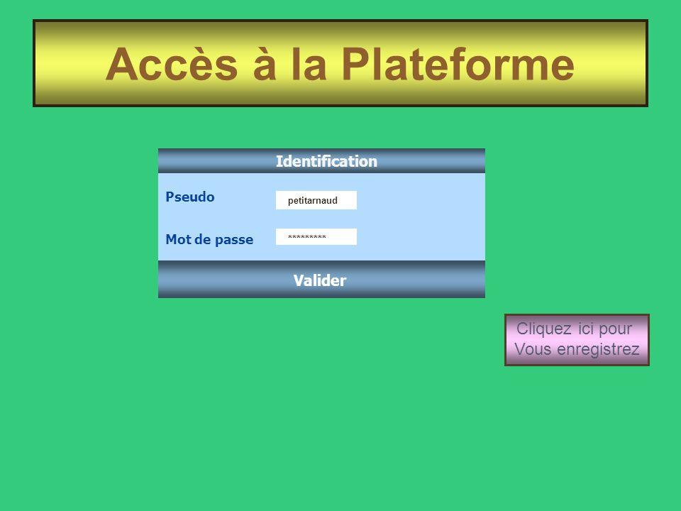 Accès à la Plateforme Cliquez ici pour Vous enregistrez Identification