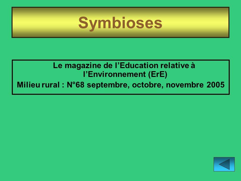 Milieu rural : N°68 septembre, octobre, novembre 2005