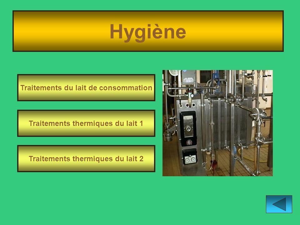 Hygiène Traitements du lait de consommation