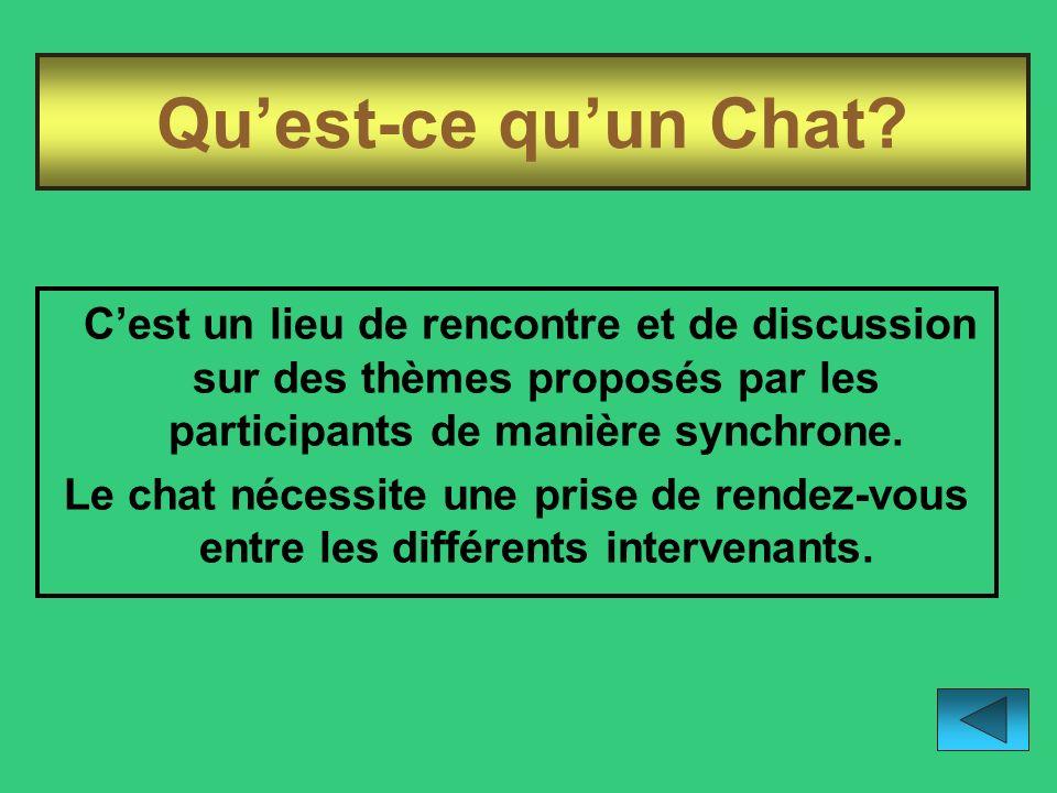 Qu'est-ce qu'un Chat C'est un lieu de rencontre et de discussion sur des thèmes proposés par les participants de manière synchrone.