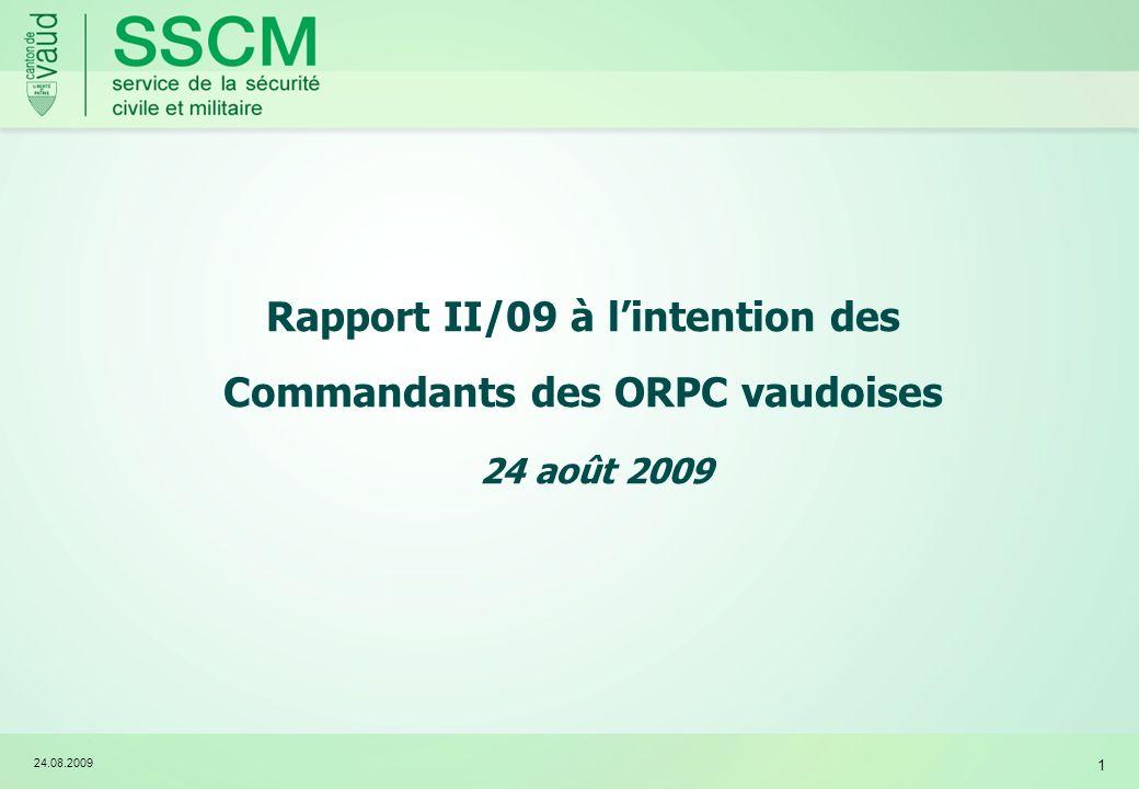Rapport II/09 à l'intention des Commandants des ORPC vaudoises