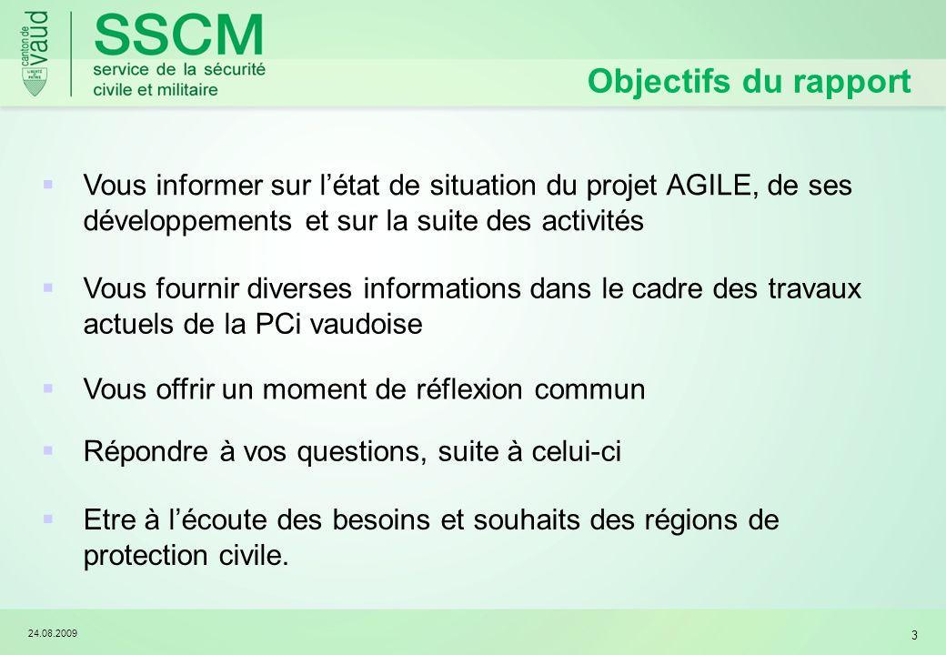 Objectifs du rapport Vous informer sur l'état de situation du projet AGILE, de ses développements et sur la suite des activités.