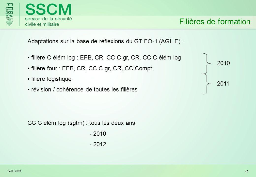 Filières de formation Adaptations sur la base de réflexions du GT FO-1 (AGILE) : filière C élém log : EFB, CR, CC C gr, CR, CC C élém log.