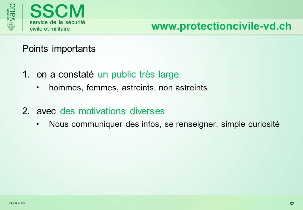 www.protectioncivile-vd.ch Points importants
