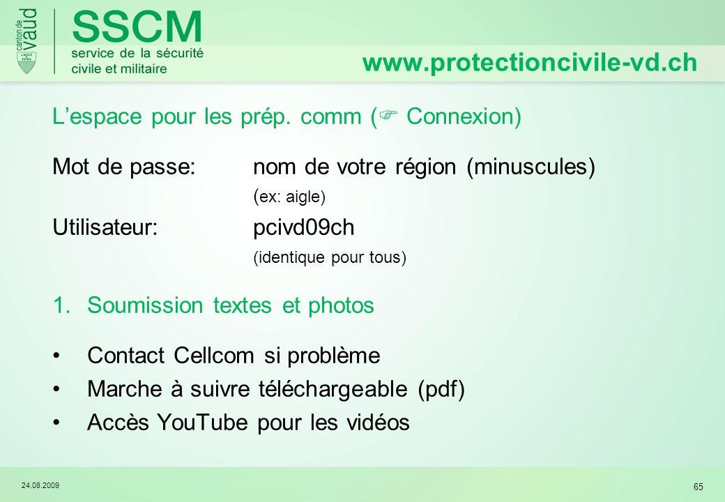www.protectioncivile-vd.ch L'espace pour les prép. comm ( Connexion)
