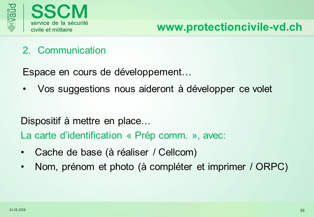 www.protectioncivile-vd.ch Communication