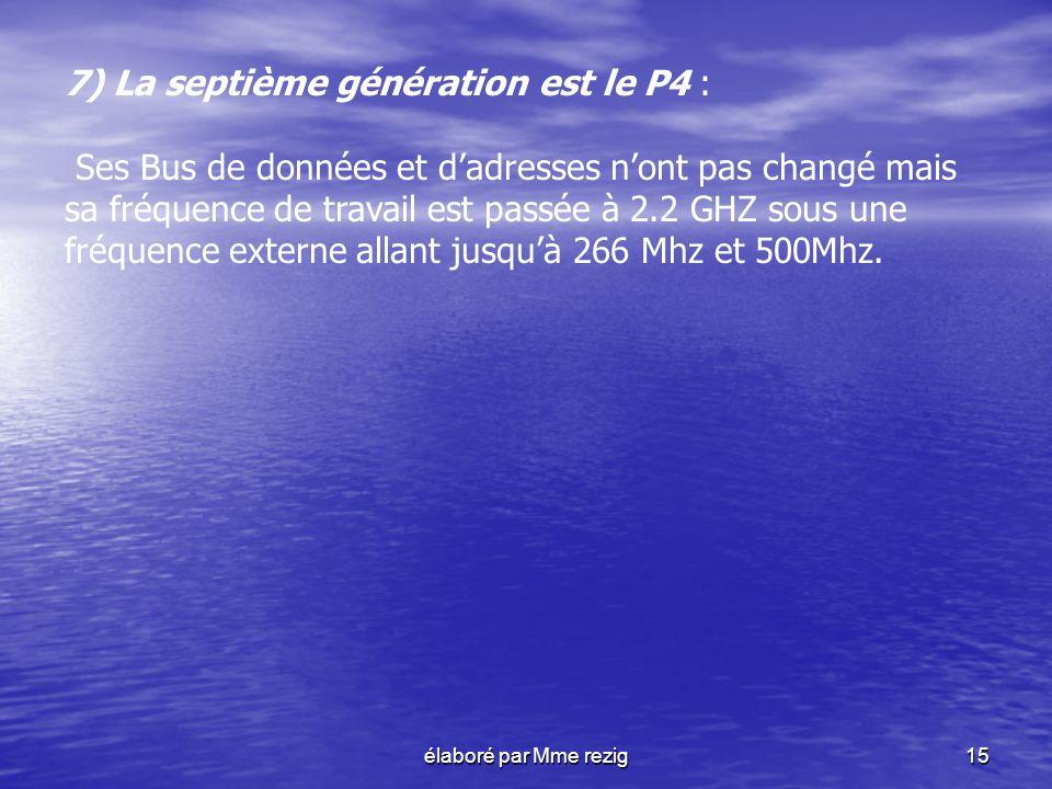 7) La septième génération est le P4 :
