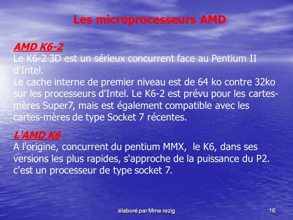 Les microprocesseurs AMD