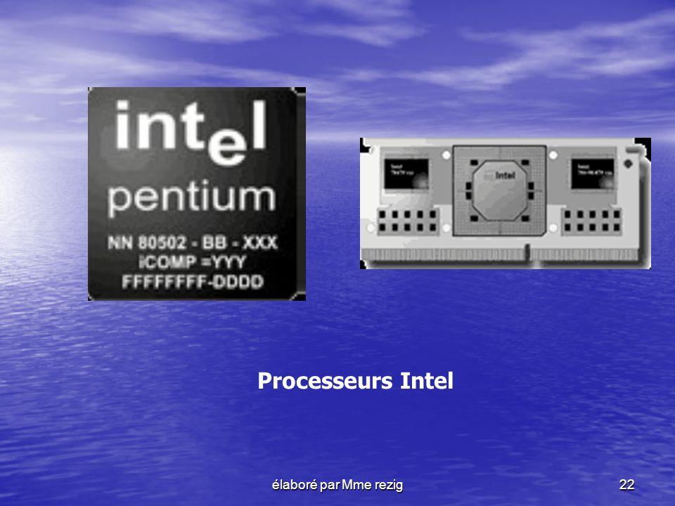 Processeurs Intel élaboré par Mme rezig