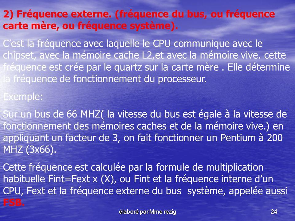 2) Fréquence externe. (fréquence du bus, ou fréquence carte mère, ou fréquence système).
