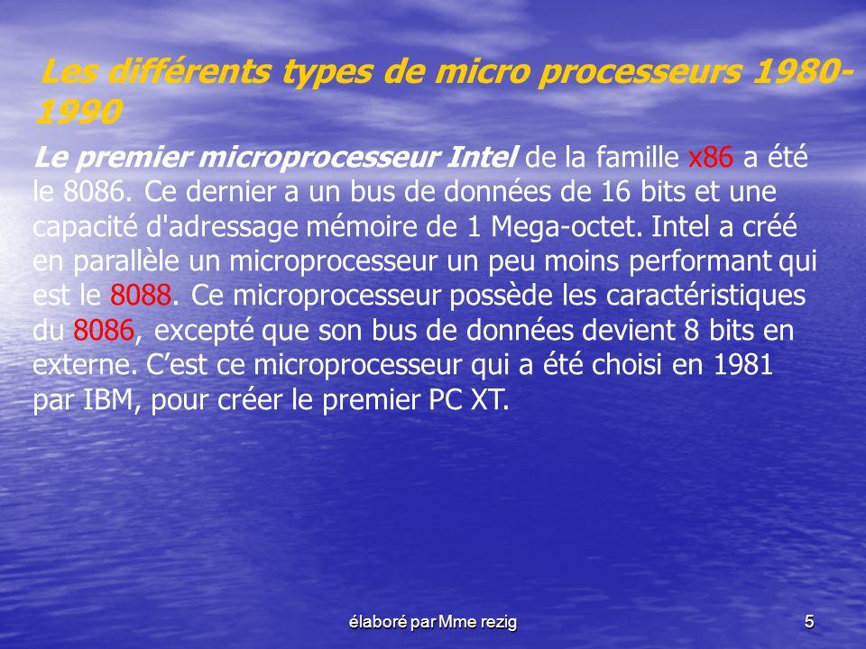 Les différents types de micro processeurs 1980-1990