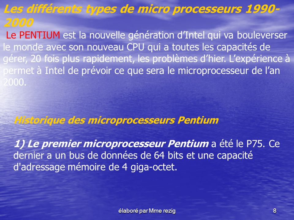 Les différents types de micro processeurs 1990-2000