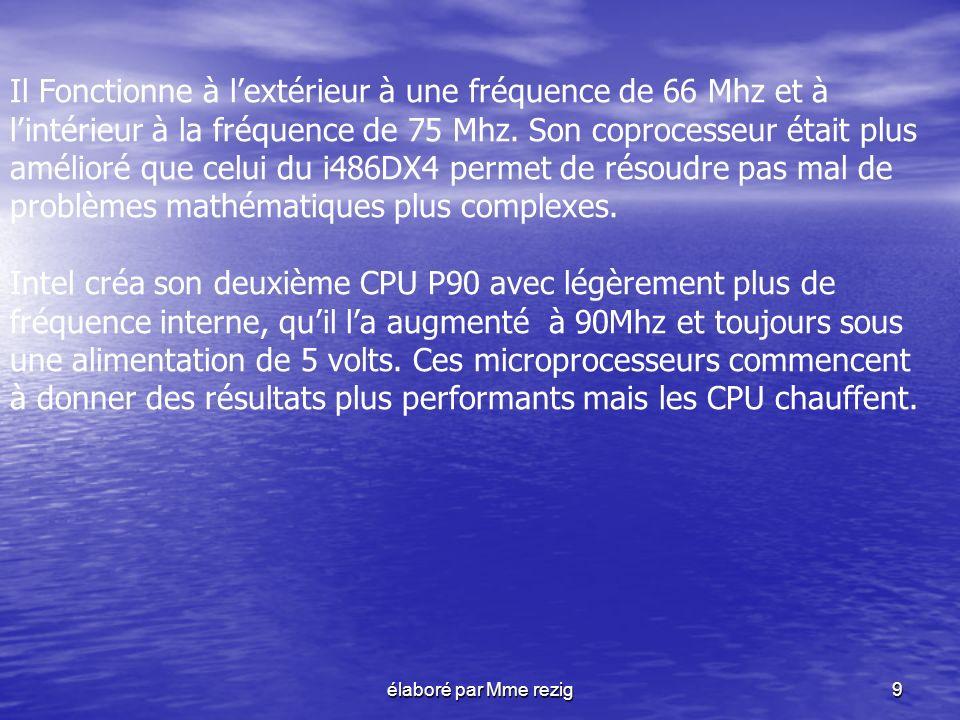 Il Fonctionne à l'extérieur à une fréquence de 66 Mhz et à l'intérieur à la fréquence de 75 Mhz. Son coprocesseur était plus amélioré que celui du i486DX4 permet de résoudre pas mal de problèmes mathématiques plus complexes.