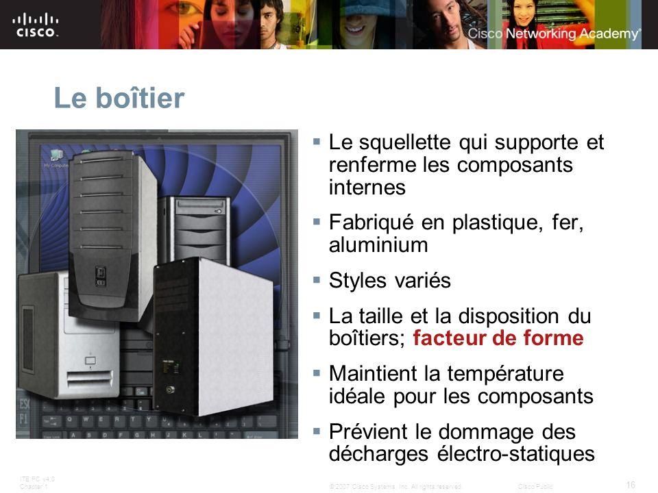 Le boîtier Le squellette qui supporte et renferme les composants internes. Fabriqué en plastique, fer, aluminium.