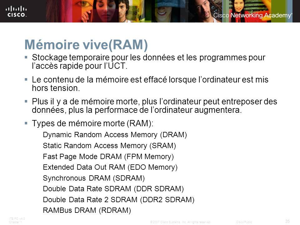 Mémoire vive(RAM) Stockage temporaire pour les données et les programmes pour l'accès rapide pour l'UCT.