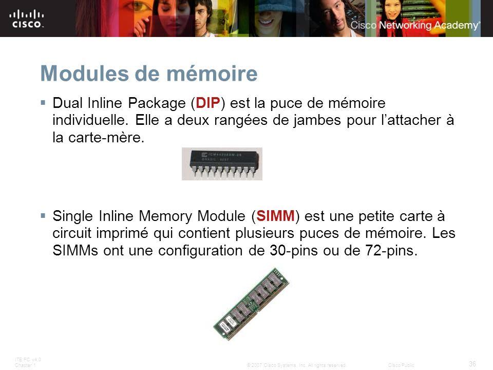 Modules de mémoire Dual Inline Package (DIP) est la puce de mémoire individuelle. Elle a deux rangées de jambes pour l'attacher à la carte-mère.