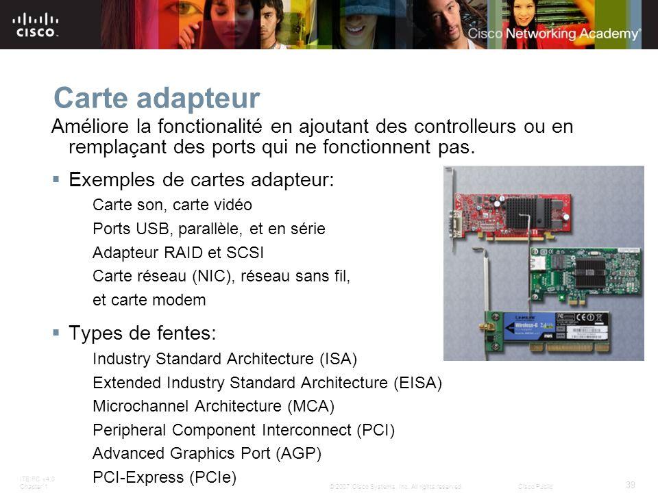 Carte adapteur Améliore la fonctionalité en ajoutant des controlleurs ou en remplaçant des ports qui ne fonctionnent pas.