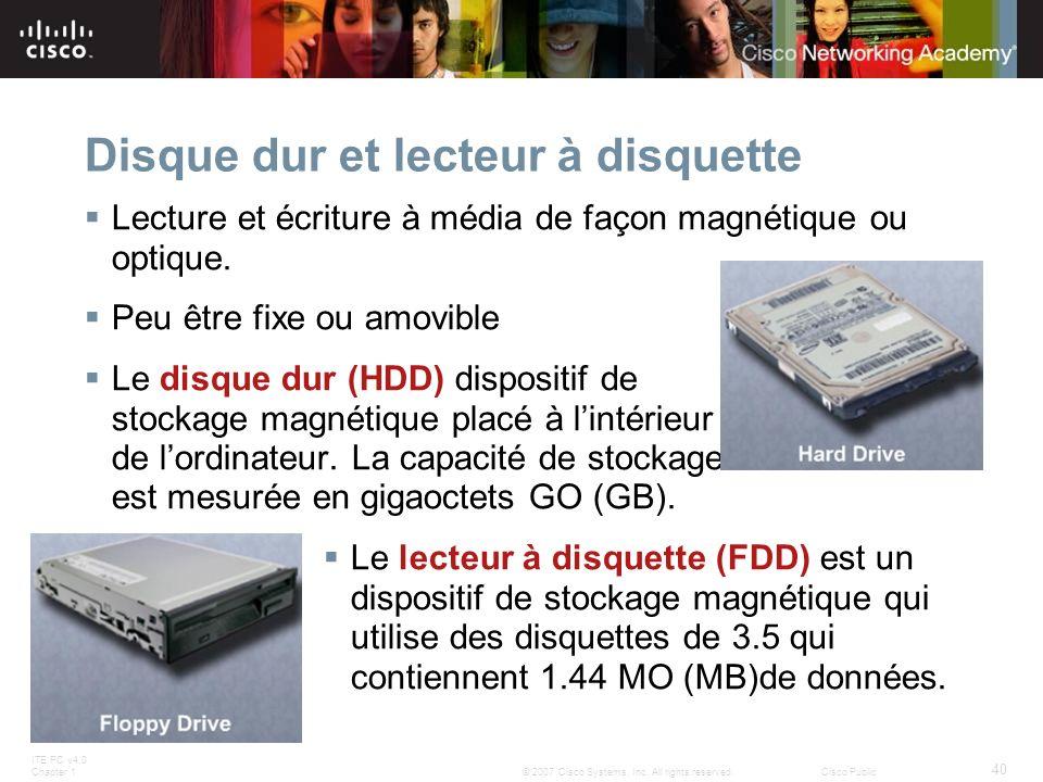 Disque dur et lecteur à disquette