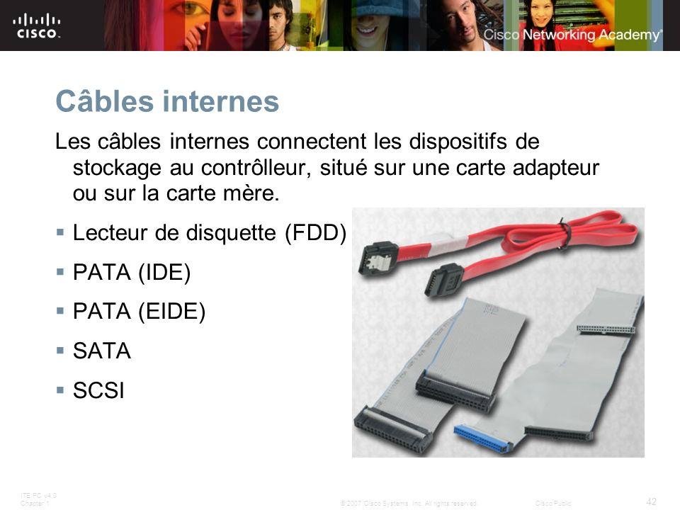 Câbles internes Les câbles internes connectent les dispositifs de stockage au contrôlleur, situé sur une carte adapteur ou sur la carte mère.
