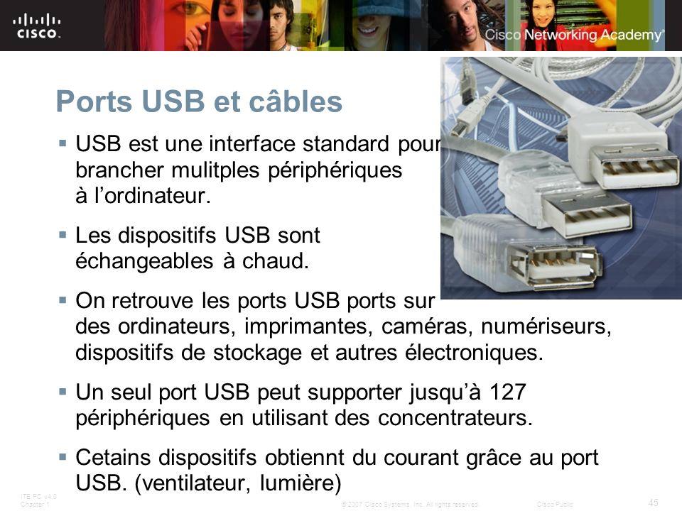 Ports USB et câbles USB est une interface standard pour brancher mulitples périphériques à l'ordinateur.