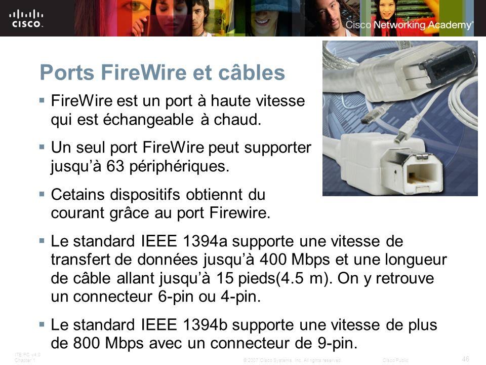 Ports FireWire et câbles