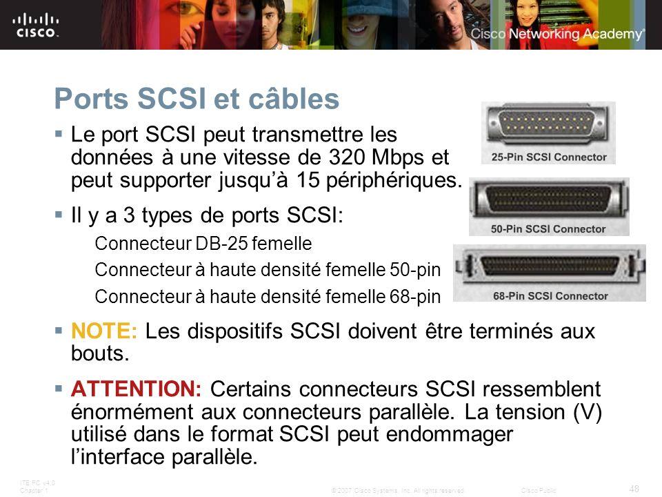 Ports SCSI et câbles Le port SCSI peut transmettre les données à une vitesse de 320 Mbps et peut supporter jusqu'à 15 périphériques.