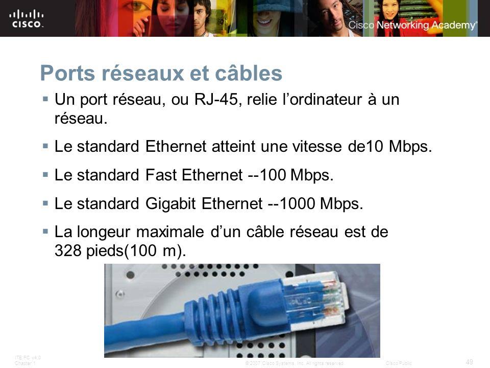 Ports réseaux et câbles